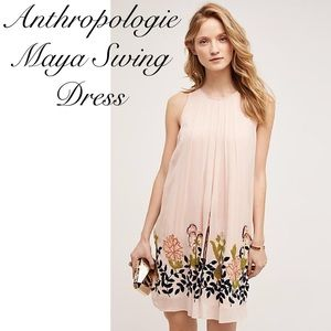 Anthropologie Maya Embroidered Swing Dress